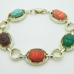 Multi-Color Lucite Carved Egyptian Scarab